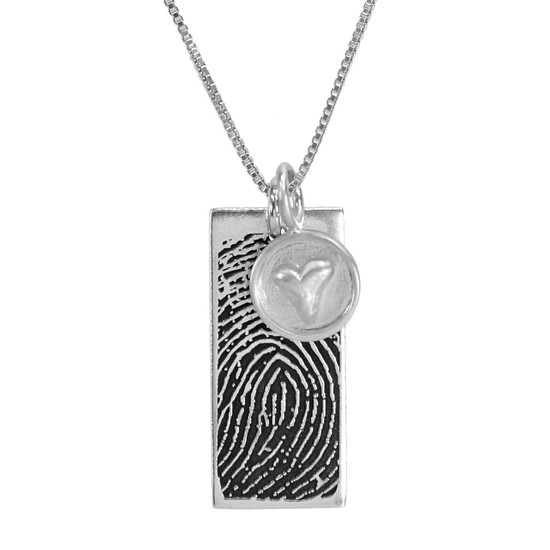Custom Silver fingerprint necklace, personalized with your loved one's fingerprint, shown with silver heart charm