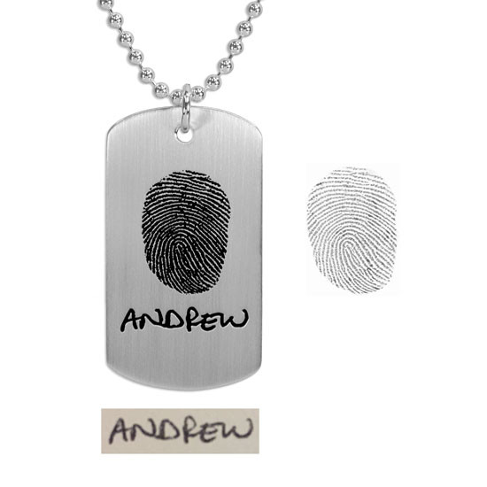 Custom silver Military Dog Tag necklace personalized with fingerprint & signature, shown on white with original fingerprint & handwritten name