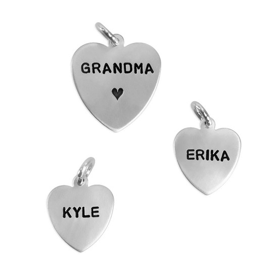 """Hand stamped sterling silver heart charms with Block Upper font in 1/2"""" and 5/8"""" sizes"""