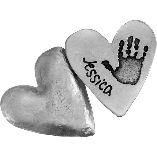 Your baby's or child's hand print or footprint etched into a pewter pocket token remembrance