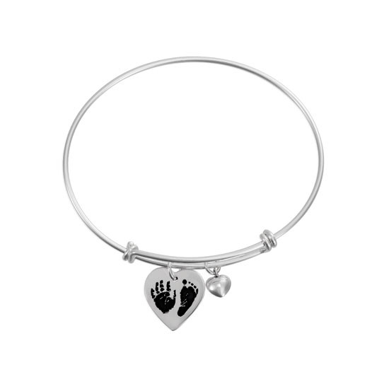 Adjustable bracelet with custom handprint or footprint charms