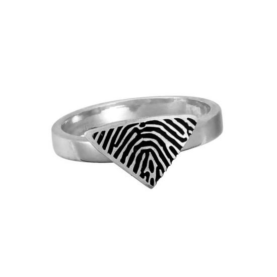 Custom fingerprint on sterling silver ring