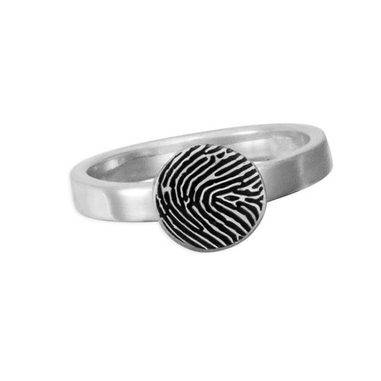 custom circle shaped fingerprint jewelry ring in sterling silver, shown on white close up