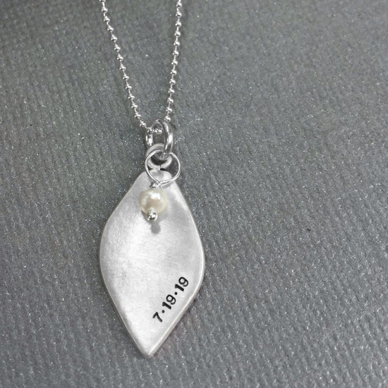 Sterling silver leaf necklace with date