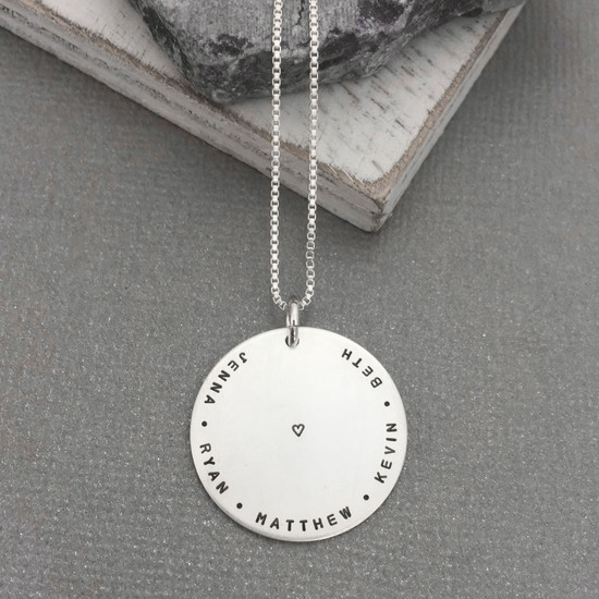 Custom hand stamped silver mother's necklace with tiny font