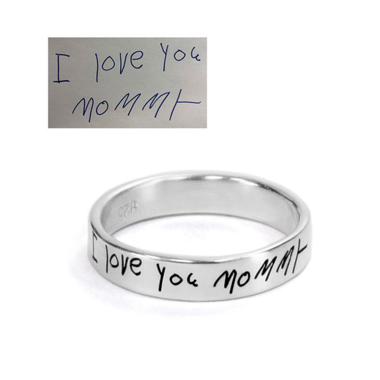 custom Stackable Handwriting Ring, shown with original handwritten note to Mom from child used to personalize it, shown on white