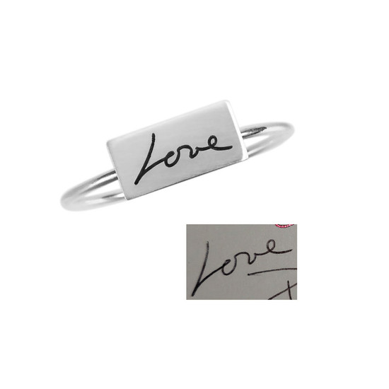 """Custom Rectangle Dainty Handwriting Ring, personalized with your actual handwriting, shown with original handwritten """"Love"""", close up on white"""
