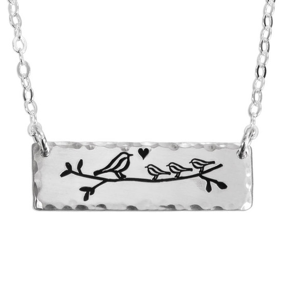 Silver hand stamped Bird Family Necklace, shown on white with 1 parent bird, and 3 baby birds