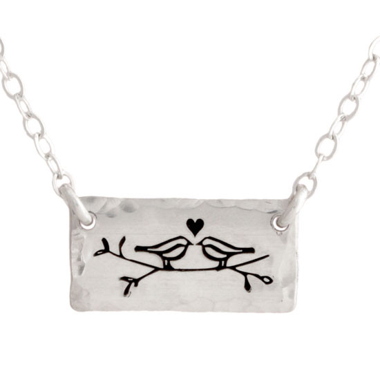 Sterling silver handmade Birds in Love Necklace thumbnail on white