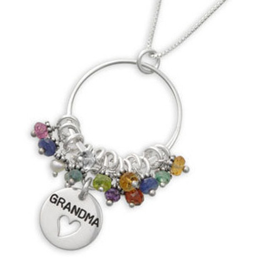 handmade sterling silver grandma necklace with birthstones, shown close up on white