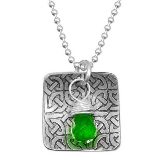 Custom handmade sterling silver Celtic Knot necklace, with green briolette stone, perfect for St Patrick's day, shown close