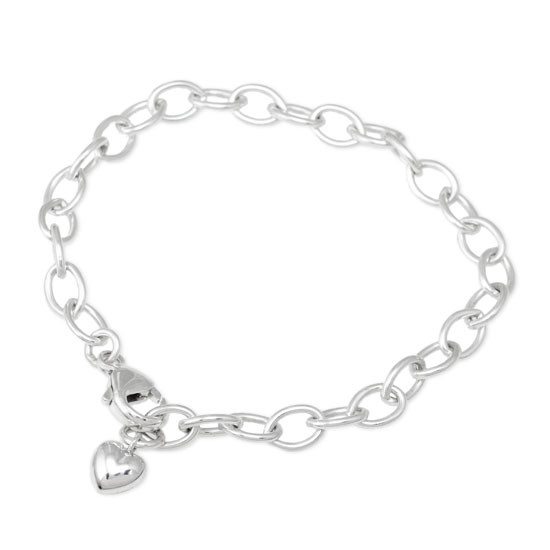 Sterling Silver Charm Bracelet Chain, with puffed silver heart, shown on white