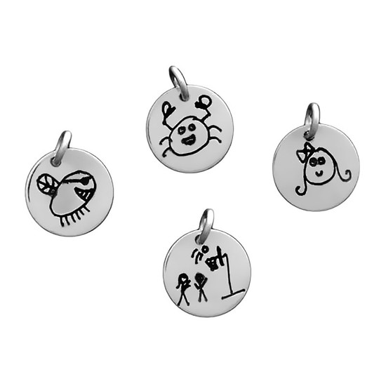 Custom silver disc Doodle Charms. Custom artwork jewelry personalized with your kids' artwork!