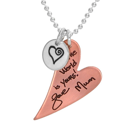 Custom Handwriting Necklace with Copper Heart with silver heart charm, personalized with handwritten note from Mom