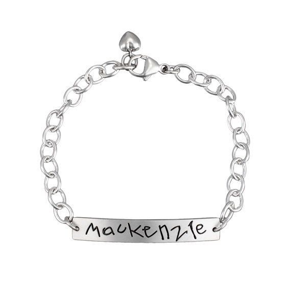 Personalized Sterling Silver Handwriting Bracelet, customized with your loved one's actual handwriting, shown on white
