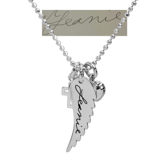 Custom Handwriting Memorial Charm Angel Wing Silver Necklace, personalized with your loved one's actual handwriting