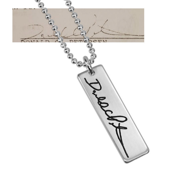 Custom Handwriting Tag in sterling silver, with actual handwriting, shown with original handwriting used to personalize it