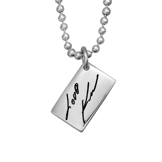 Custom Silver Love Note handwriting necklace, shown close up on white