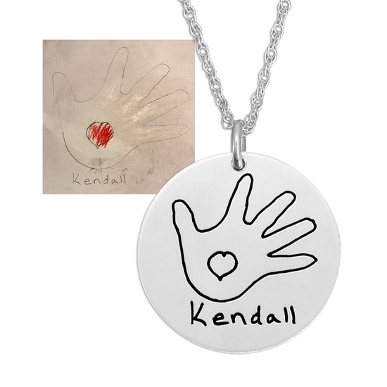 """Custom Silver Round Handwriting Artwork Necklace with child's drawing of hand and heart on a silver 3/4"""" circle charm"""