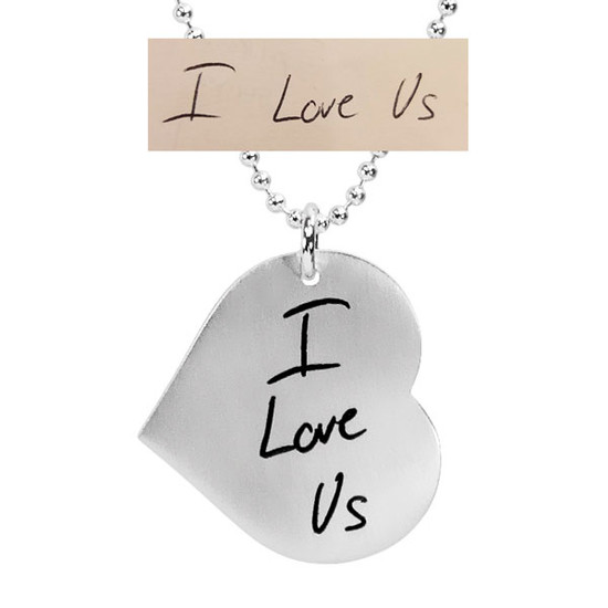 Bridal note on sterling silver heart necklace, shown with handwritten note used to personalize it