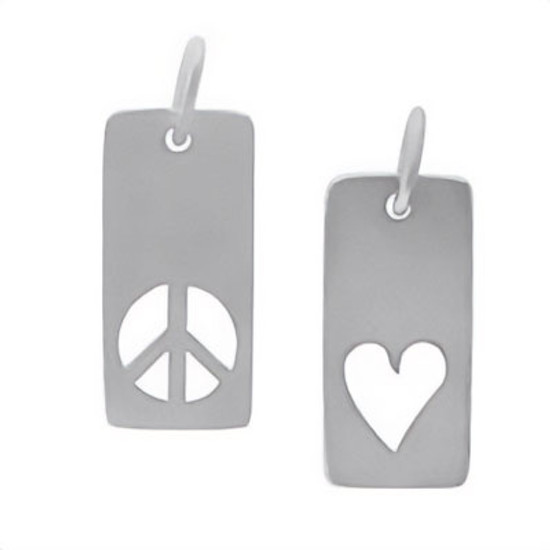 Silver Dainty Rectangle Heart or Peace Charm, with cutout of peace sign or heart