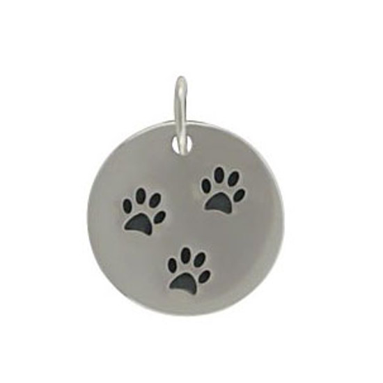 Disc with 3 Paw Prints Charm