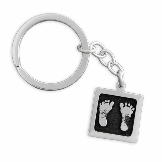 Custom sterling silver Key Ring with Etched Baby Prints, showing footprints