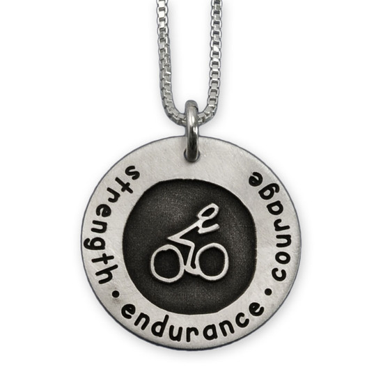 Etched Bike Necklace