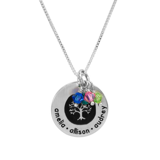 Silver Etched Family Tree Necklace personalized with names & birthstones, shown close up on white