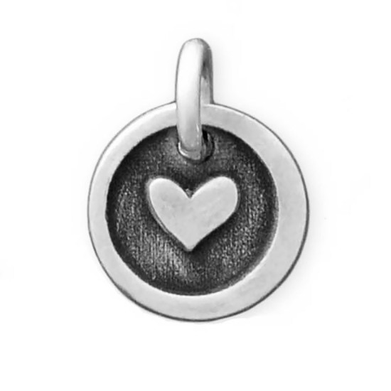 Silver Etched Lil Heart Charm