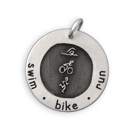 Etched Swim Bike Run Necklace