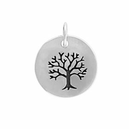 Sterling silver Family Tree Charm, with image of tree on a silver disc