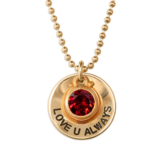"""Personalized Gold Disc with Genuine Birthstone Necklace, hand stamped with """"Love U Always"""", with red birthstone, shown close up on white"""