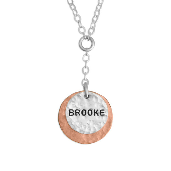 Hammered Copper & Silver Necklace with hand stamped name, shown close up on white