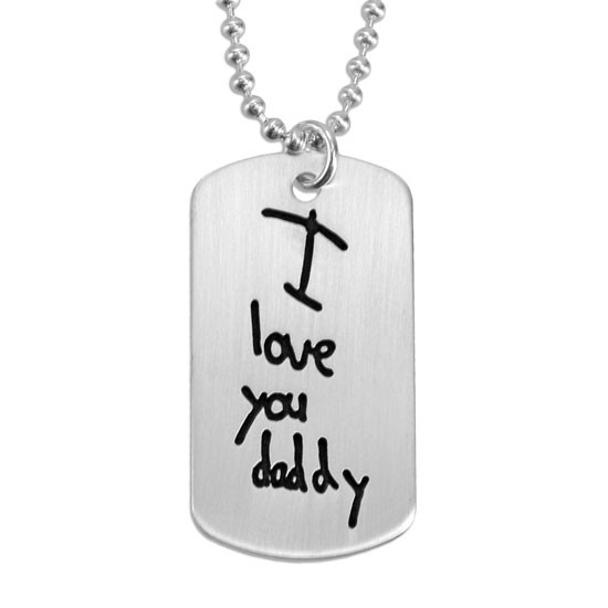 Handwritten note on silver dog tag necklace for man