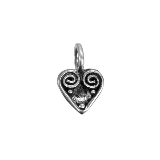 Silver Heart Swirl Charm