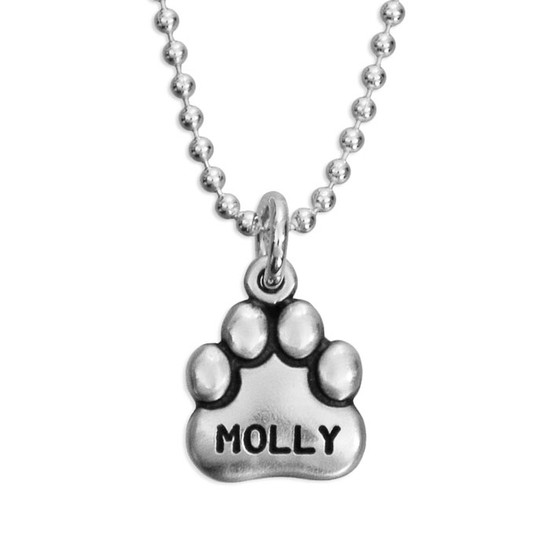 Large Sterling Paw Charm with name Molly stamped on it, shown on sterling silver chain
