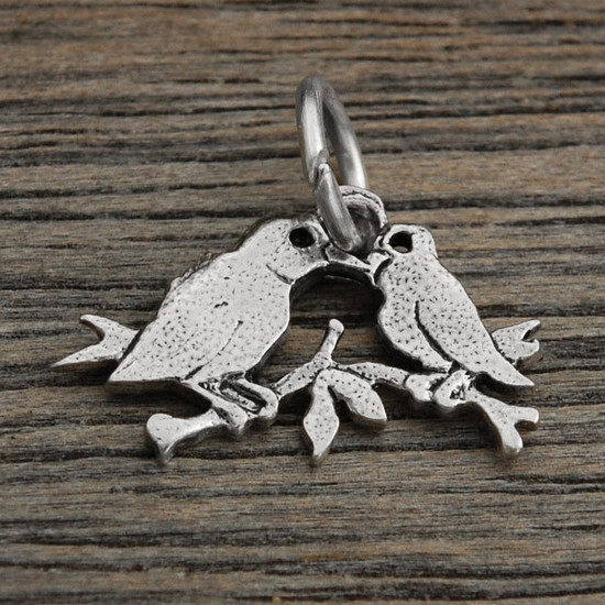 Sterling silver Little Lovebirds Charm, to add to any necklace or bracelet