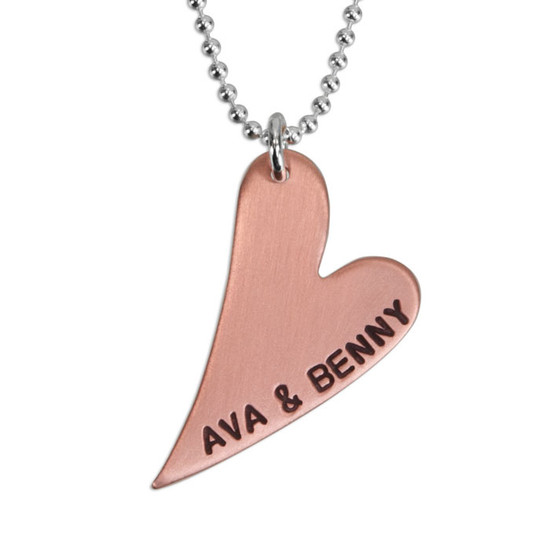 Personalized Long Copper Heart Necklace, hand stamped names on silver chain, shown close up on white