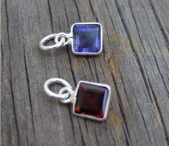 Medium Square Sterling Wrapped Stone