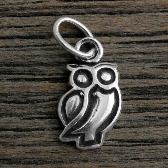 Sterling silver Owl Charm to add to any necklace or bracelet, shown on wood background