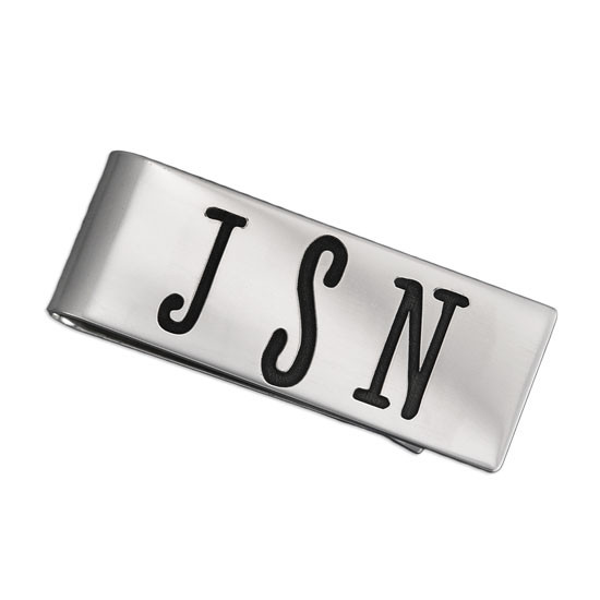 Sterling Silver Personalized Money Clip, customized with monogram, shown on white