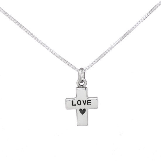 Puffed Cross Charm Necklace