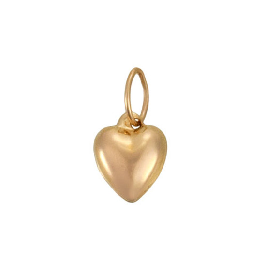 Puffed Heart Gold-Filled Charm, shown close up on white