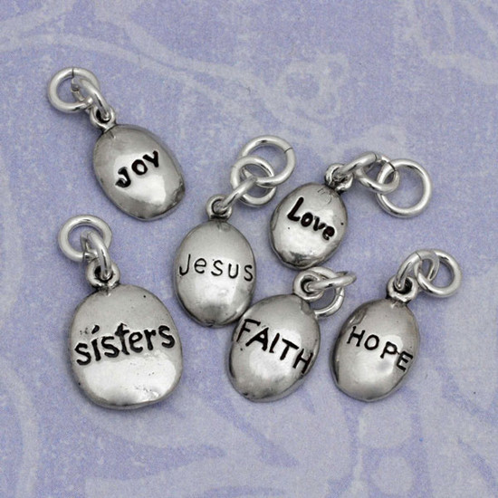 inspirational words on puffy sterling silver charms to add to a necklace