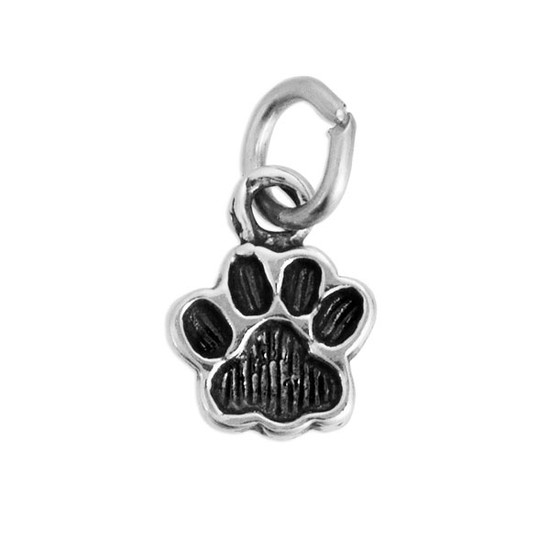 Blackened silver Paw Charm to add to personalized necklaces and bracelets