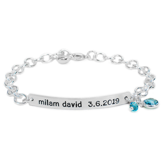 Hand stamped ID Bracelet for mom, made from sterling silver, shown with birthstone on white