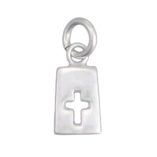 Sterling silver rectangle cross charm
