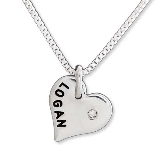 """Custom sterling silver Heart with Diamond personalized with hand stamped """"Logan"""""""