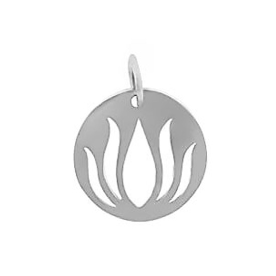 Sterling silver Lotus Cutout Disc
